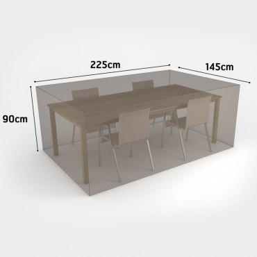 COVERTOP table+4 chairs 225x145xh.90cm drapp
